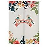 Liveinu Tür Vorhang Modern Leinen Vorhang Japanische Noren Panels Für Schlafzimmer Tür Vorhang mit Teleskopstange 85 x 90 cm Vögel der Liebe