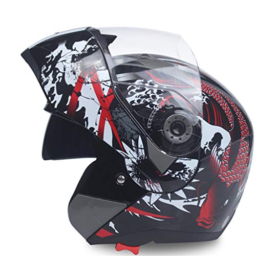 Qianliuk Casco Integrale Safe Flip up Moto Motocross Moto Casco Racing Motocross con Visiera Solare Interno