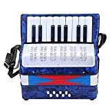 Dilwe Fisarmonica, Mini Piccola Fisarmonica a 17 Tasti a 8 Basso Giocattolo Strumento Musicale per Principianti Insegnamento (Blu navy)
