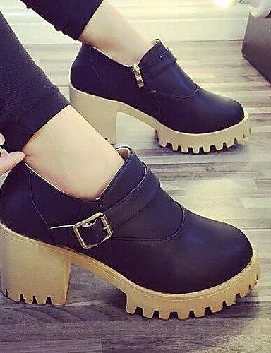 WSS 2016 Chaussures Femme-Habillé-Noir / Marron / Gris-Gros Talon-Bout Arrondi-Talons-Similicuir 2in-2 3/4in-brown