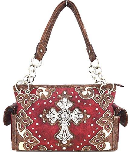 Blancho Biancheria da letto delle donne [Diamante] borsa dellunità di elaborazione di cuoio di modo elegante Borsa Rosso Handbag-Rosso
