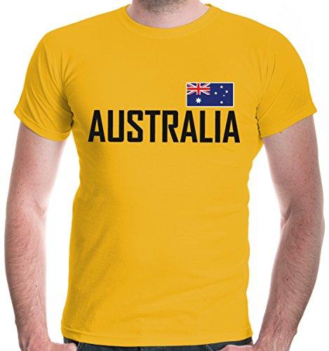irt Australien | Australia Australie Ozeanien | Ländershirt Fanshirt Flagge | M, Gelb (Kostüme Für Männer In Australien)