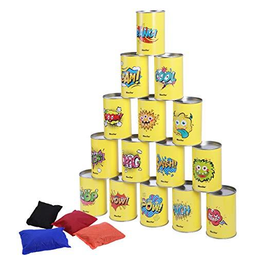 iBaseToy Dosenwerfen Spiele für Draußen - Kindergeburtstag Karneval Weihnachten Party Spiele - 15 Dosen mit Verschiedenen Motiven und 4 Wurfsäckchen