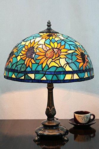 Gweat 12-Zoll Vintage Pastoralen Sonnenblumen Glasmalerei Tischlampe Schlafzimmer Lampe Nachttischlampe -