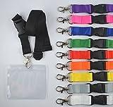 10 Stück unbedruckte Schlüsselbänder inkl. Ausweishülle Kartenhalter aus Weich PVC Schlüsselband Lanyard neutral ohne Druck 20 mm breit, Steckverschluss Sicherheitsverschluss verschiedene Farben Ausweishülle Querformat (schwarz)