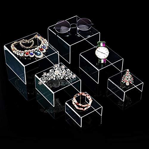 2 Sets Klare Acryl Display Risers, Schmuck Display Riser Shelf Showcase Leuchten (3 Größen B) Service Riser