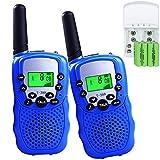 Walkie Talkie für Kinder mit Akku und Ladegerät 0,5W 8 Kanäle VOX Taschenlampe PMR446 Funkgeräte Handfunkgeräte Walki Talki Kinder Spielzeug (2er- Set, Blau)