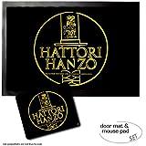 Set: 1 Fußmatte Türmatte (60x40 cm) + 1 Mauspad (23x19 cm) - Logos, Hattori Hanzo Master Sword Craftsman Okinawa