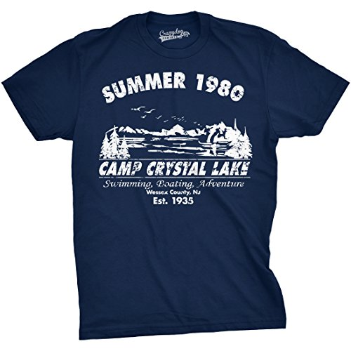Mens Summer 1980 Mens Funny T shirts Camping Shirt Vintage Horror Novelty Tees (Navy) 3XL - herren - 3XL (Zitate über Horror-filme)