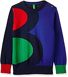 United Colors Of Benetton Boys Sweater (17A1TRICZ005I13CXX_Black Melange)