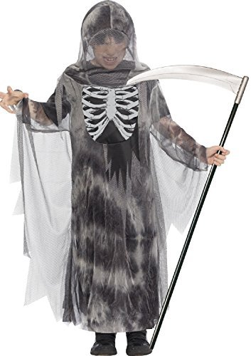 n Geisterhaft Ghul Sensenmann Gespenstisch Death Halloween leuchten im dunklen Kostüm Kleid Outfit 4-14 Jahre - 12-14 years (Halloween-kostüme Für Teen Jungen)
