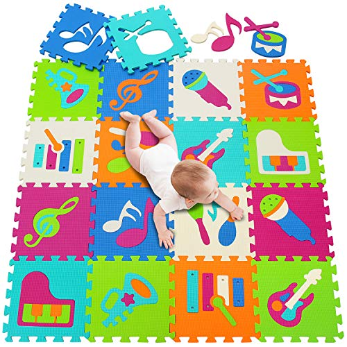 meiqicool - Alfombra de Espuma para Jugar Alfombra Puzzle para Niños Bebe Infantil (152 x 122 x 1 cm, 18 Unidades)