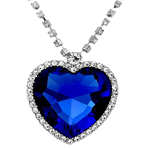 Maryam Heart Necklace Pendant Jewellery Blue Titanic Heart Necklace Pendant With Chain For Girls and Women  available at amazon for Rs.359