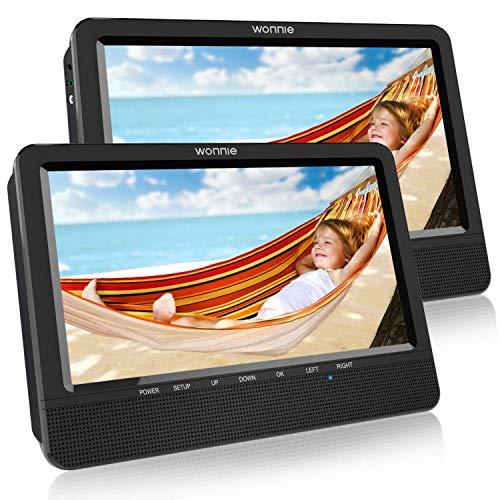 """WONNIE 10.1\"""" Reproductor de DVD Portátil con 2 Pantallas para Reposacabeza de Coche para Niños en Viaje Compatible con Tarjeta SD y USB"""