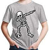 HARIZ  Jungen T-Shirt Dab Skelett mit Fussball Dab Teenager Tanzen Weihnachten Inkl. Geschenk Karte Hell Grau 164/14-15 Jahre