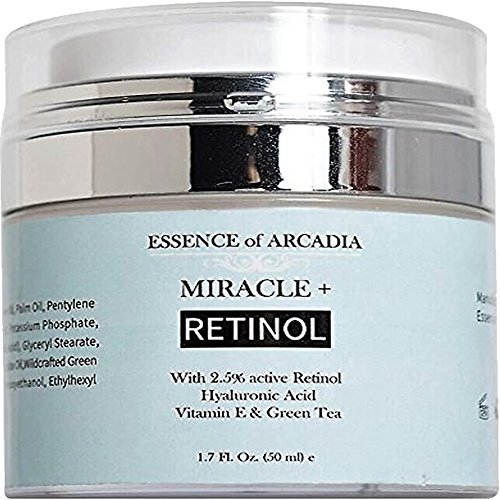 Retinol Moisturizer Cream High Strength for Face and Eye Area Miracle Plus- 2.5% Retinol, Hyaluronic Acid, Vitamin E, Green Tea–Anti Aging Formula Reduces Wrinkles, Fine Lines, Spots-Day and Night 1.7 fl. oz (50ml)