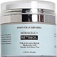 Essenza di Arcadia Miracle + crema Retinolo idratante per viso e occhi area - 2.5% Retinolo, acido ialuronico, vitamina E, verde tea-anti Aging formula riduce