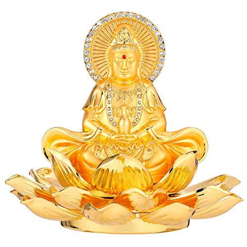 Feng Shui Golden Eight Treasure Lotus Double Buddhistische Avalokitesvara Aromatherapie Auto Ornamente Kuan Yin Buddhismus Home Office Dekoration Segen Sicherheit und Reichtum als Geschenk