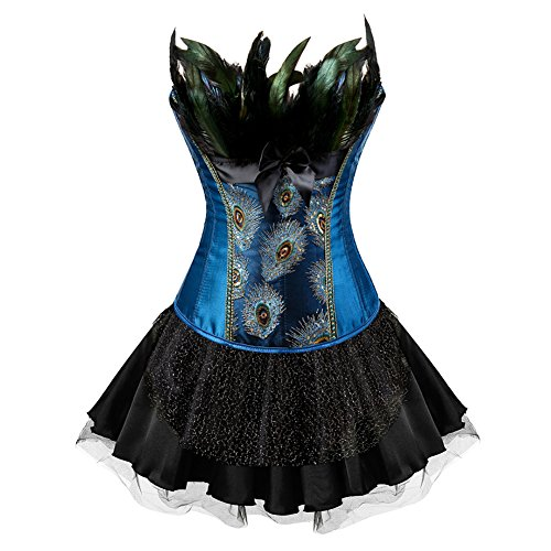 FeelinGirl Damen Gotik Corsagenkleid Bustier Vintage Korsage Corsage mit Rock Burlesque Petticoat Kostüme Pfau - Pirate Kostüm Mit Schwarzem Rock