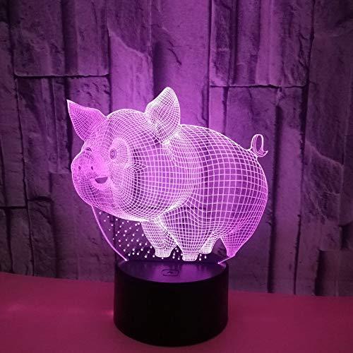 LED Nachtlicht-3D-sieben-Farben-Fernbedienung kreatives Geschenk niedlichen Schwein Modell Lampe bunten Nachtlicht Schreibtisch Schreibtisch Lampe Haushalt Nachtlicht KinderspielzeugNachtlicht