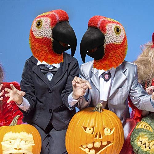 Kostüm Kopf Vogel - Ganmaov Rote Papagei Maske Latex Maske Halloween Kostüm Tier Vogel Kopf Maske Party Maske great