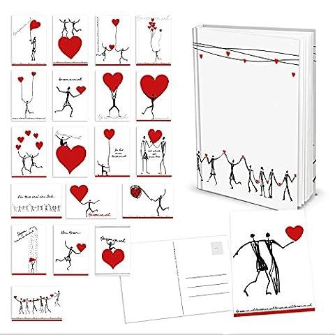 Leeres Blanko-Buch Tagebuch Notizbuch Geschenkbuch DIN A5 von HerzMENSCH in schwarz weiß mit roten Herzen + Set mit 20 verschiedenen exklusiven Postkarten (12 x 17,5 cm) als Geschenk-Set