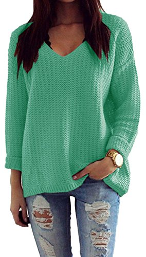 Mikos*Damen Pullover Winter Casual Long Sleeve Loose Strick Pullover Sweater Top Outwear (627) *Hergestellt in der EU - Kein Asienimport* Mint