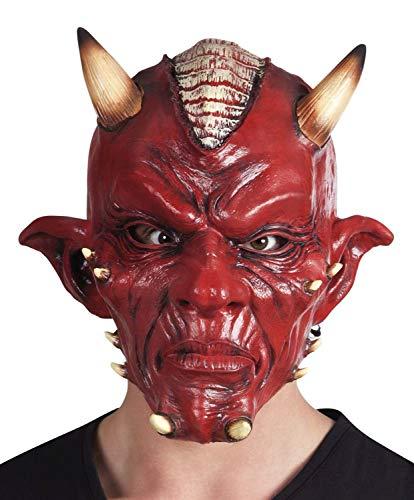 Máscara diablo Deluxe de látex para adulto, color rojo, talla única