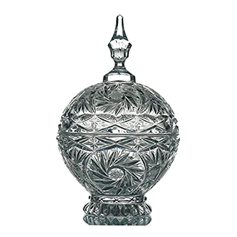 Crystal Jar 16 cm, transparent, lead crystal, (GERMAN CRYSTAL powered