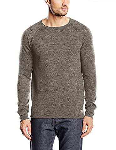 JACK & JONES VINTAGE Jjvcunion Knit Crew Neck Noos, Pull Homme, Vert (Covert Green Detail:Knit Fit-Melange), Small