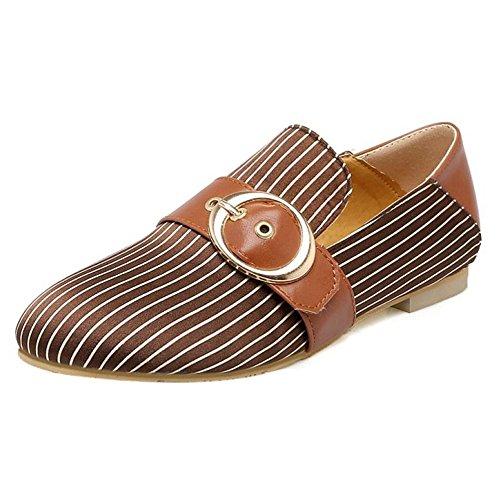TAOFFEN Femmes Escarpins Decontracte Plat A Enfiler Flaneurs Chaussures De Boucle Marron