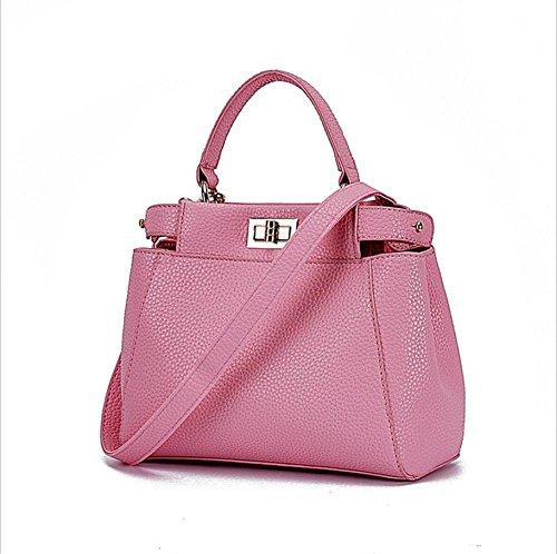 LDMB Damen-handtaschen Einfache wilde PU-lederne Nubuck Schulter-Kurier-Beutel-Handtaschen-feste Farben-Einkaufstasche für Frauen und Mädchen cherry blossoms powder