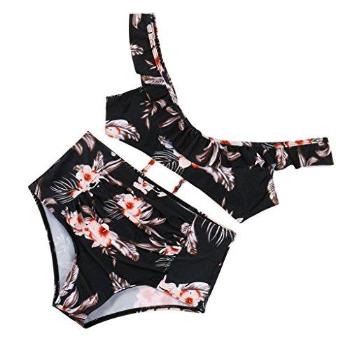 Bademode Hffan Damen Badeanzüge Bikinis Set Pareos Strandkleider Badeshorts Tankinis Frauen Push-up Bra Gepolsterter Print BH Badeanzug Beachwear Bodysuits (Multicolor, M) (Print-pareo)