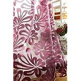 Jacquard 3d Gran Patrón De Flores Cortina Escarpada Para Salón Púrpura