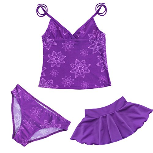TiaoBug 3pcs Girls Swimsuit Floral Halter Top Tankini Swimwear Beachwear Swimming Costume