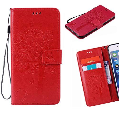 Jonmao Sony Xperia XA1 / Z6 Hülle, Rote Wallet Handyhülle Magnetic Flip PU Leder Stand Schutzhülle für Sony Xperia XA1 / Z6