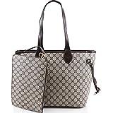 LeahWard® Damen 2 IN 1 Schultertasche mit Clutch Bag Designer-Einkaufstaschen (Grau Tasche mit Kupplung)