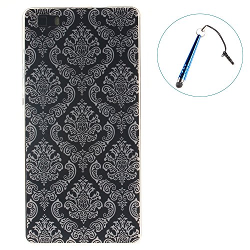 Huawei Ascend P8 lite Coque,BLKJ Huawei Ascend P8 lite Housse Etui TPU Silicone Clair Ultra Mince Anti-Scratch Back Case Cover pour P8 Lite- 1 Gratuit Touch Pen (Wind chime in Black) White Totem of Flowers in Black