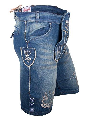 Almwerk Herren Trachten Jeans Lederhose kurz Modell Platzhirsch, Farbe:Blau;Lederhose Größe Herren:58 - 2