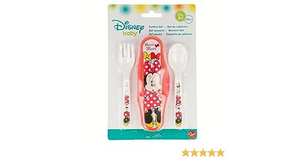 G/én/érique Fourchette Cuillere Repas Set de Couvert Plastique pour Bebe avec Sa Boite de Rangement Minnie Disney 146