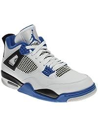 uk availability 507c6 c6acf NIKE Chaussures Homme AIR Jordan 4 Retro en Cuir Blanc avec détails Noirs  et Bleus 308497