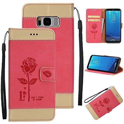 Ecoway Para Samsung Galaxy S8 Plus Funda, Amantes de Rosa(Rojo) PU Leather Cubierta , Función de Soporte Billetera con Tapa para Tarjetas Soporte para Teléfono