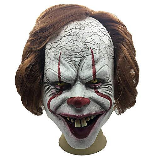 Gfhjgjhj Horror Clown Voll Maske,Halloween Maske Cosplay Kostüm Requisiten Horror Scary Voller Kopf Maske Gruselig Spukhaus Stütze Blutige Zombie Gesicht Trick Cosplay - Blutige Zombie Kostüm