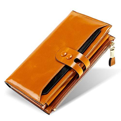 BaiGe Damen Geldbörse mit RFID-blockierender Geldbörse mit großer Kapazität, echtes Leder, Geldbörse mit Reißverschlusstasche Braun braun M
