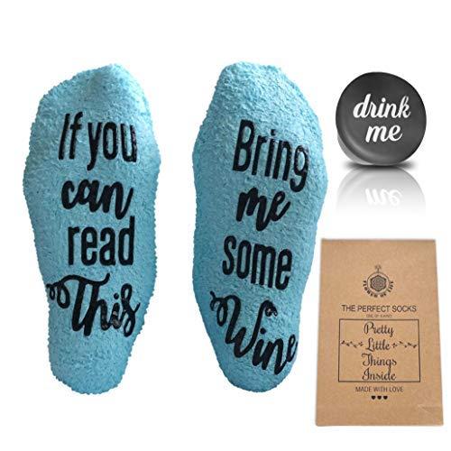 n-Geburtstag Geschenk für Ihre Mutter-Funny Wein Socken-Blau mit Baumwolle Tasche und Rutsch-von von Fole INC ()