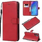 Huawei P30 Pro Hülle, Leder Tasche Handyhülle Flip Wallet Schutzhülle für Huawei P30 Pro mit Ständer und Kartenfächer/Magnetverschluss#Q (Rot)