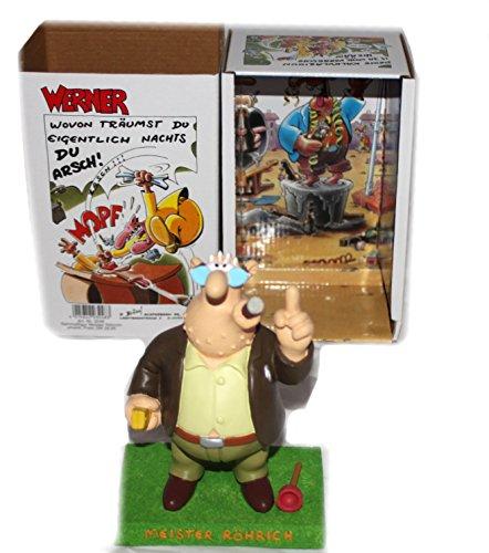 """große Meister Röhrich Sammelfigur (bekannt aus den """"Werner""""-Comics und -Filmen), Rööörich mit dem charakteristischen Zigarrenstumpen im Mundwinkel, Zollstock in der rechten Hand, die linke Hand mahnend erhoben, neben ihm liegt eine Gummi-Pümpel """"PFROPF"""""""