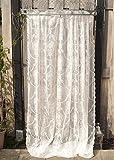Gardinenschal Vorhang 'Lou' 2er Set 140 x 240 cm (BxH) transparent mit Muster creme Skandinavisch Landhaus Shabby French Vintage Retro Antik Nostalgie