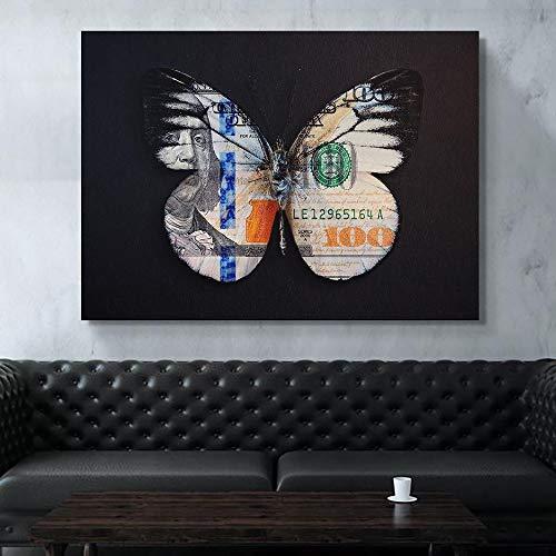 NIMCG Decoración para el hogar Pintura Impresión en Lienzo Cartel Mariposas Dólares...