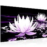 Bild Blumen Lotusblume Wandbild Vlies - Leinwand Bilder XXL Format Wandbilder Wohnzimmer Wohnung Deko Kunstdrucke Violett 1 Teilig - MADE IN GERMANY - Fertig zum Aufhängen 203314b